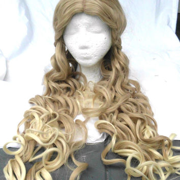 Long Blond Braided Wig, Princess, Light, Dragon Queen, Renasscaince, Fairy Tale, cosplay, Curly, Princess, Maiden, Long, flowing, Costume