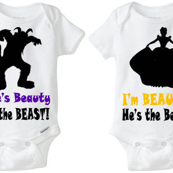 "Twin Baby Gift: Gerber Onesuit brand body suits - Beauty & Beast (set of 2) ""She's Beauty; I'm the Beast"" great for boy/girl fraternal twins"