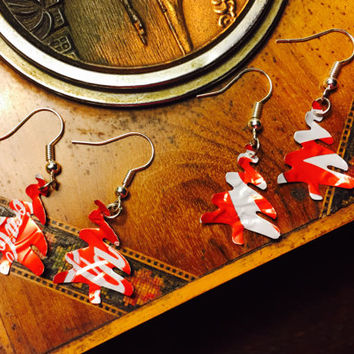 Recycled Soda Can Christmas Tree Earrings