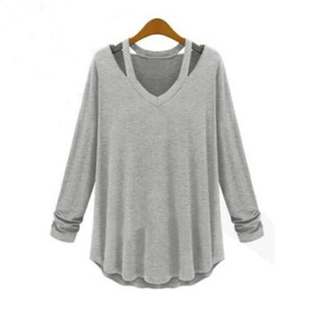 New Women Casual Blouse Plus Size Top Fashion Loose Long Sleeve T Shirt Dress Tee 3 color with size S,M,L,XL,2XL,3XL,4XL = 1827645892