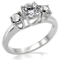 Stainless Steel Past Present & Future Engagement/Promise Ring