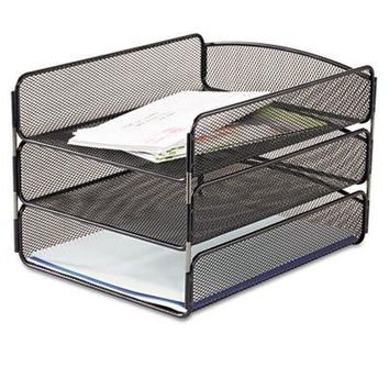 Safco SAF-3271BL Desk Tray, Three Tiers, Steel Mesh, Letter, Black-1 count