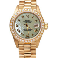 White MOP roman dial presidential style watch rolex datejust diamond bezel gold