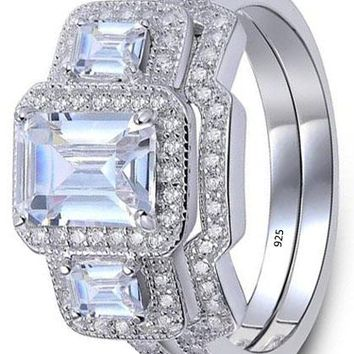 3 Ct Radiant Cut White Cz 925 Sterling Silver Wedding Band Engagement Ring Sets