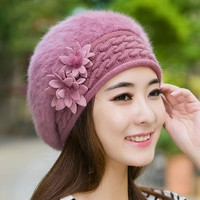 2017 new brand winter Christmas warm hats caps for women Beret rabbit hair casual caps fashion All-match Berets Stewardess hats