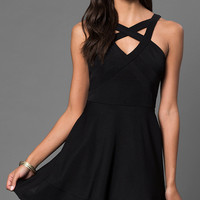 Little Black Emerald Sundae Dress with Cut Outs