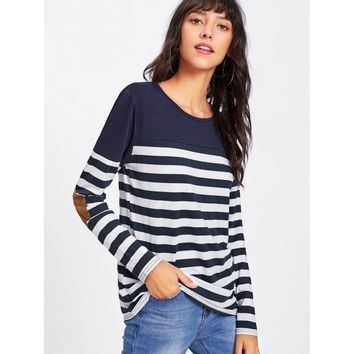 Contrast Elbow Patch Striped Tee