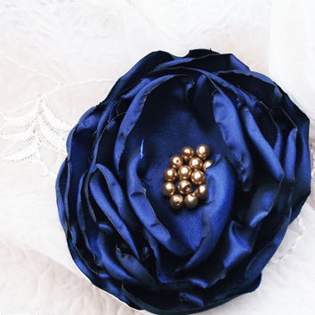 Navy Fabric Flower Brooch Cobalt Blue Floral Pin Corsage Peony Rose Handmade Europeanstreetteam bridal sash