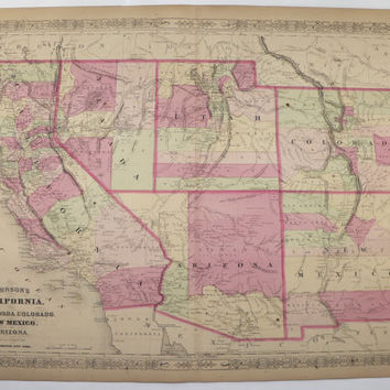 Antique California Map Colorado Arizona Map New Mexico Utah Map Nevada 1867 Johnson Map, Vintage Map Western United States Historical Map