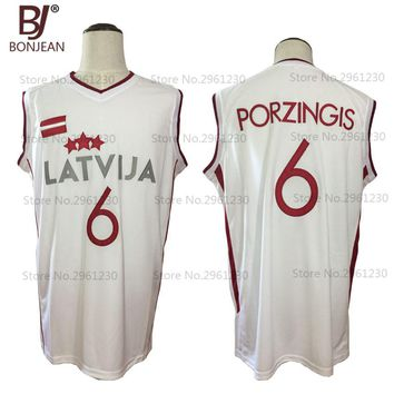 Throwback Basketball Jersey Kristaps Porzingis 6