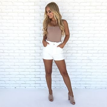 Office Proof Double Layered Bodysuit In Mocha