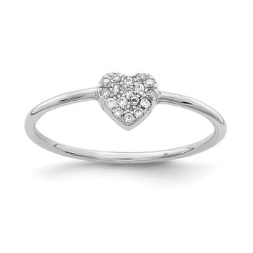 925 Sterling Silver Rhodium-plated Polished Cubic Zirconia Heart Ring