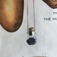 Carborundum Round Glass Vial Necklace