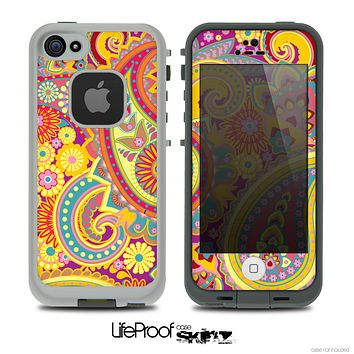 The Neon Orange Paisley Pattern Skin for the iPhone 4 or 5 LifeProof Case.png