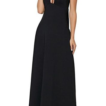 Black Halter Self Tie Ribbon Wrap Maxi Dress