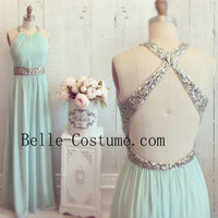 Backless Prom Dress, Chiffon Halter Sequined Prom Dress, Mint Bridesmaid Dresses