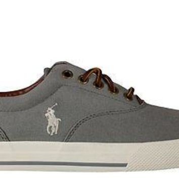 Polo Ralph Lauren Mens Vaughn Casual Sneakers Museum Grey Canvas
