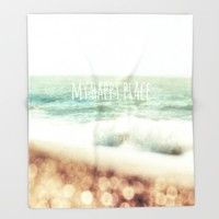 Beach - My Happy Place Throw Blanket by ALLY COXON | Society6