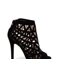 Triangulated Cut-Out Bootie Heels