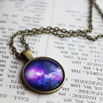 Purple Galaxy Necklace - Space Stud Pendant - Universe Jewelry - Galaxy Necklace - Space Necklace - Purple Pendant Galaxy Universe