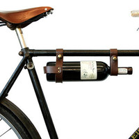 "Bicycle Wine Rack, Leather  - Brown 1"" frame"