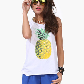 White Pineapple Sleeveless Top
