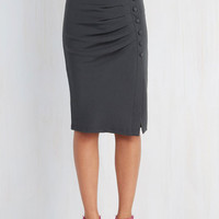 Pinup Mid-length Pencil A Trip into Town Skirt in Charcoal by ModCloth