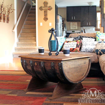 Whiskey barrel table.whiskey barrel furniture.wine barrel table.end table.centerpiece.living room table.coffee table.(Wine Barrel Table)