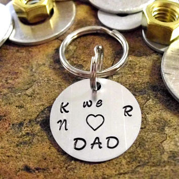 Dad Key Chain, Hand Stamped Key Chain, Father's Day Keychain, Father's Day Gift, We (Heart) Dad, Initial Keychain
