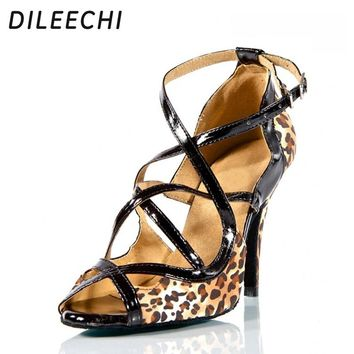 DILEECHI Brand Leopard Satin Charming sexy adult Latin shoes professional in high-heeled dance shoes Ballroom dancing shoes