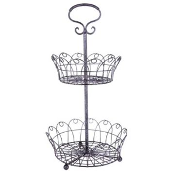 Black & Pink 2-Tiered Wire Basket Tray from Hobby Lobby