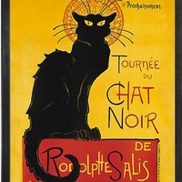 Le Chat Noir (The Black Cat). Framed Art Print Poster. Custom Made Real Wood Charcoal Black Frame (17 1/8 x 21 1/8)