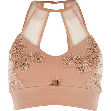 Nude pink lace and mesh bralet