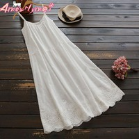 2019 Summer New Women's Sweet Japanese Flower Embroidered Lace Cotton Spaghetti Strap Mori Girl Dress White Black Green Vestidos