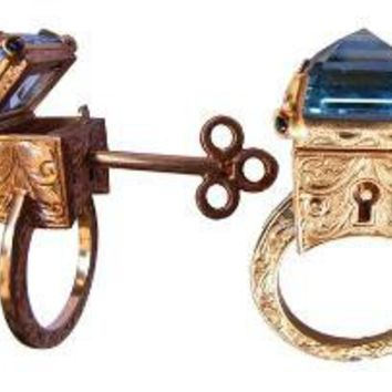 Engraved Topaz Locking Poison Ring with Key by MetalCoutureJewelry
