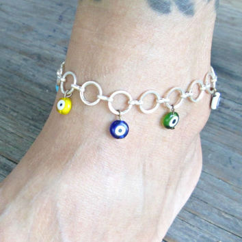 Evil Eye Anklet - Evil Eye Jewelry - Evil Eye Ankle Bracelet - Colorful Beach Jewelry - Summer Jewelry - Gift Under 20 - Birthday Gift
