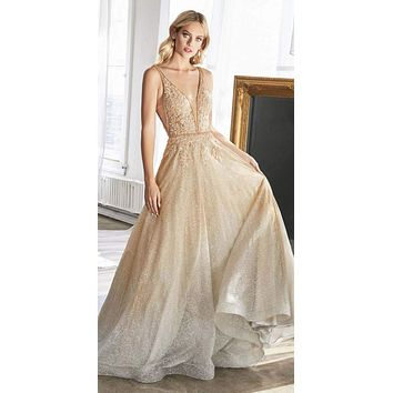 Long A-Line Ballgown Gold/Silver Ombre Glitter Finish Lace Beaded Bodice