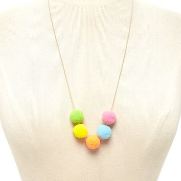 Pom Pom Pendant Necklace
