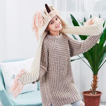 Crochet Cartoon Unicorn Winter Hat with Scarf Boys Girls Hooded Knitting Beanie Cosplay Photography Prop Costume Drop Shipping