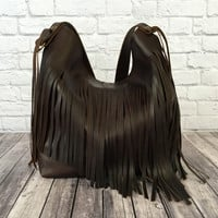 Porter Brown Leather Fringe Shoulder Bag / Fringe Leather Bag / Fringe Purse / Brown Leather Purse