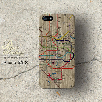 Subway map gray wood print, iPhone 5 case, iPhone 4S case, Decoupage case for iPhone.
