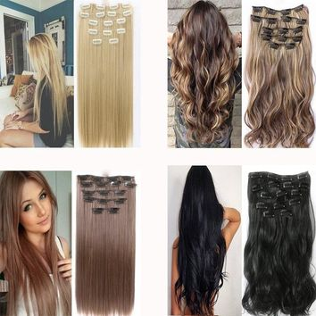 16/24Inch Synthetic Fiber Hairpiece Clips in on Hair Extension 1 Piece 5 Clips Curly Wavy Hairpieces Wigs 18 Stytle