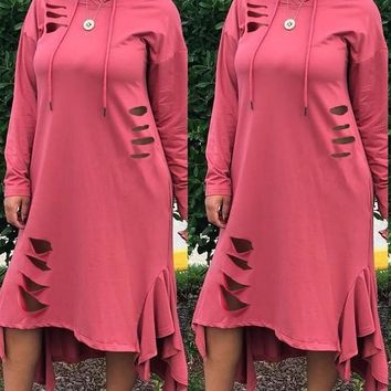 New Pink Cut Out Ruffle Drawstring Hooded Long Sleeve Casual Maxi Dress