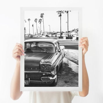 Black and White Photography, Classic Car Print, Cuba Art, Havana Print, Black and White Wall Art, Large Wall Art, Custom Sizes Available