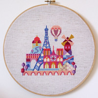 Pretty Little Paris - Modern Cross stitch embroidery or needlepoint pattern PDF - Instant download