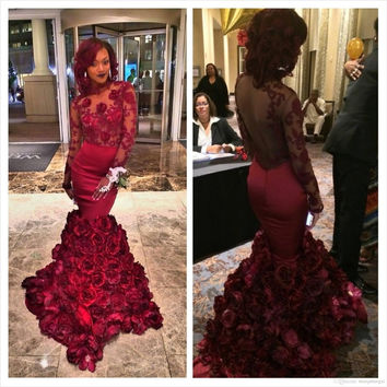 Burgundy Prom Dresses Sexy Mermaid Sheer O-neck Long Sleeves Formal Party Gown Bodice Lace Handmade Flower Dubai Evening Dress