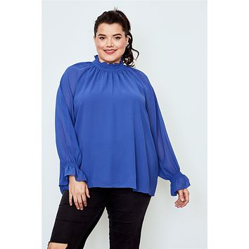 Cute Casual Vintage Affordable Plus Size Clothes for Women Plus size high neck ruffle long sleeve top