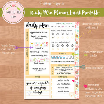 HALF-LETTER Daily Plan Planner Insert Printable | Fits Kikki K Large & Filofax A5 Instant Download