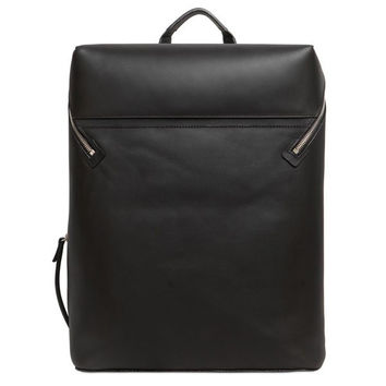 Minimalist Black Vegetable Tanned Leather Backpack
