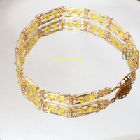 Swarovski Citrine Crystal Beaded Bracelet with Miyuki Gold Twisted Bugle Beads